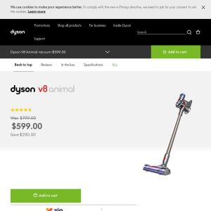 Stick Vacuum Cleaner Dyson V8 Animal Stick Vacuum Cleaner $599 Delivered (Was $799) @ Dyson Australia